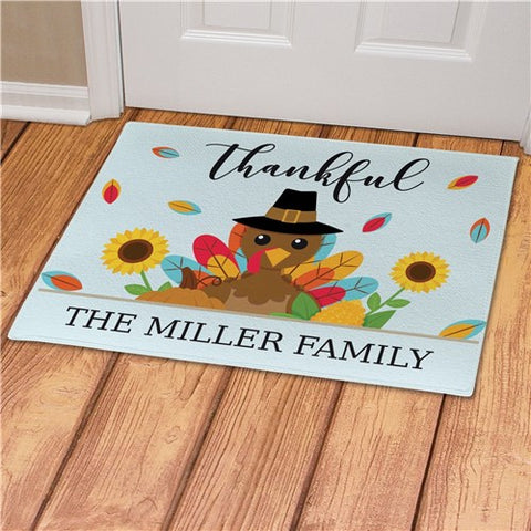 Thankful Turkey Personalized Doormat