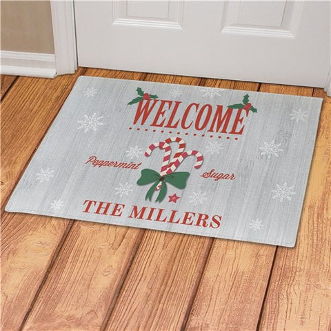 Welcome Candy Canes Personalized Doormat