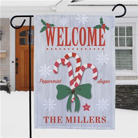 Welcome Candy Canes Personalized Garden Flag