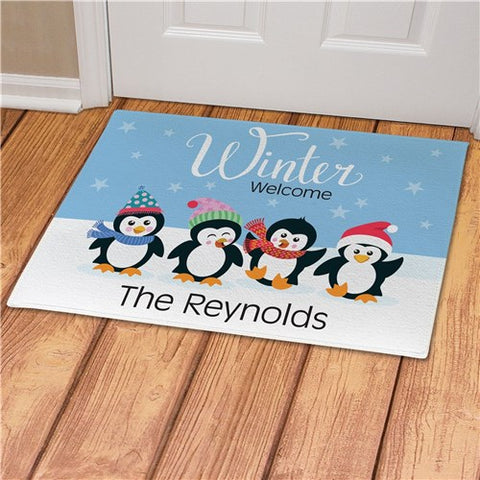 Winter Welcome With Penguins Personalized Doormat