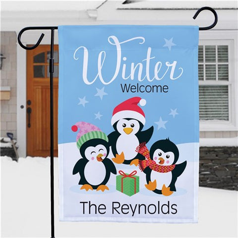 Winter Welcome With Penguins Personalized Garden Flag