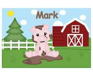 On the Farm Pig Kids Placemat