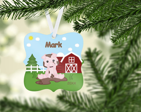 On the Farm Pig Christmas Prague Ornament