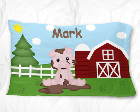 On the Farm Pig Pillow Case