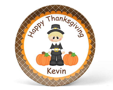 Thanksgiving Pilgram Boy Kids Plate