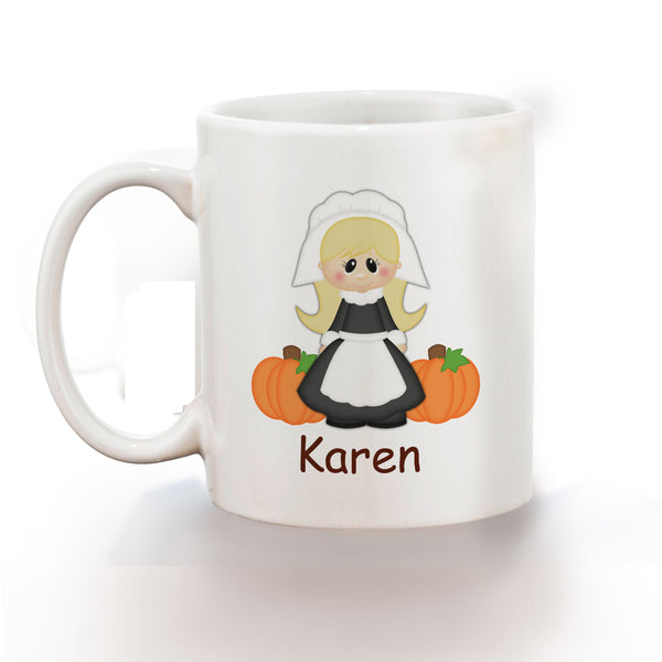 Thanksgiving Pilgram Girl Kids Mug