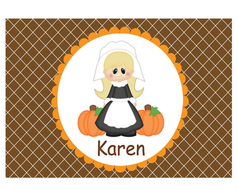 Thanksgiving Pilgram Girl Kids Placemat