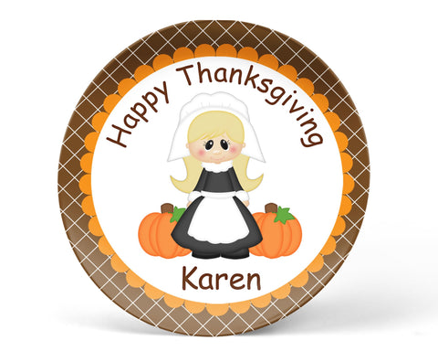 Thanksgiving Pilgram Girl Kids Plate