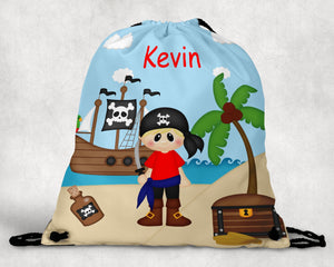 Pirate Boy Drawstring Bag