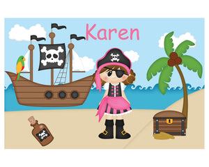 Pirate Girl Kids Placemat