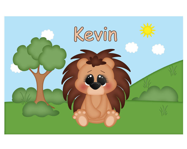 Cute Woodland Porcupine Kids Plate