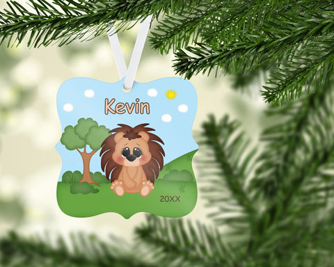 Cute Woodland Porcupine Christmas Prague Ornament