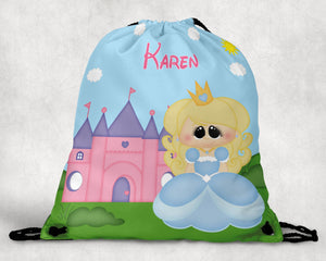 Princess Blue Personalized Drawstring Bag
