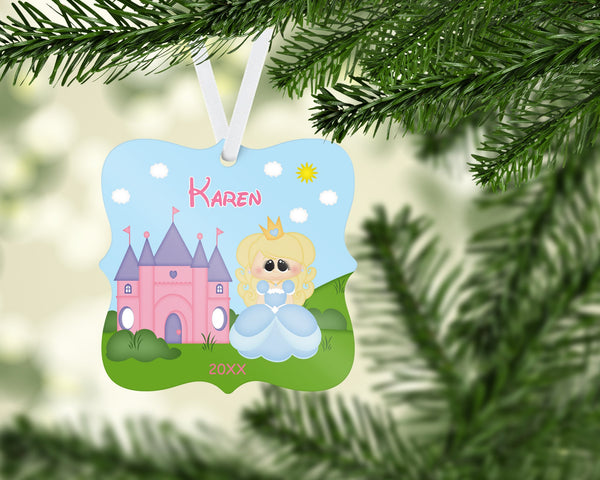 Princess Blue Christmas Prague Ornament
