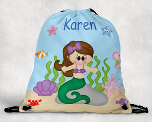 Under the Sea Princess Personalized Drawstring Bag