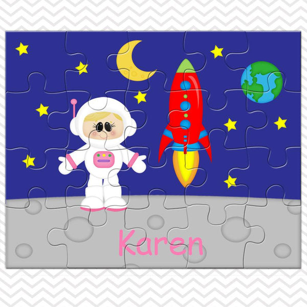 Space Astronaut Girl Kids Personalized Puzzle