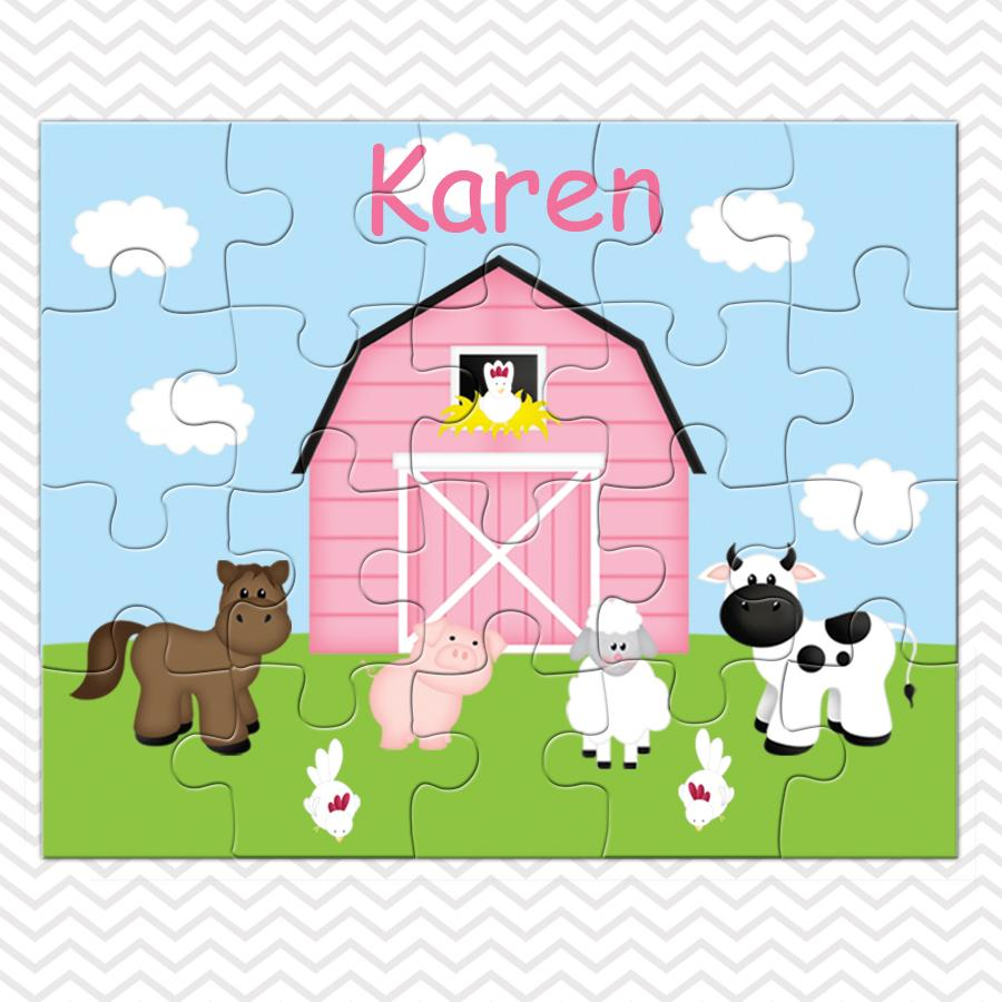 Barn Yard Pink Kids Puzzle