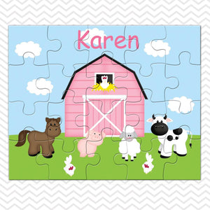 Barn Yard Pink Kids Personalized Puzzle