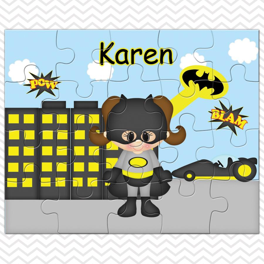 Batgirl Super Hero Kids Personalized Puzzle