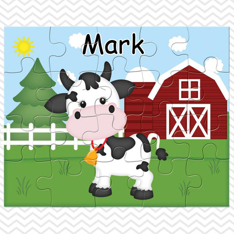On the Farm Cow Kids Personalized Puzzle