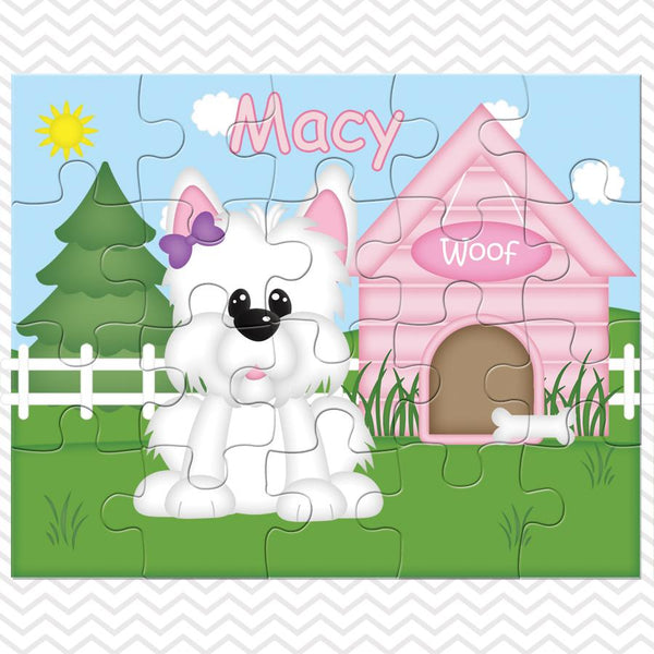 Dog House Pink Kids Personalized Puzzle