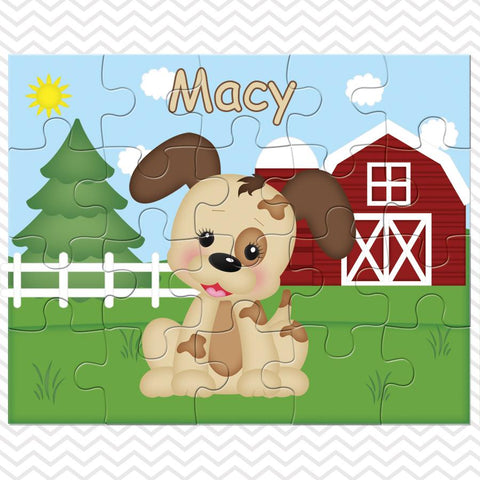 On the Farm Dog Kids Personalized Puzzle