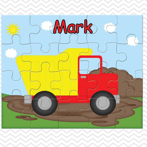 Dump Truck Kids Personalized Puzzle