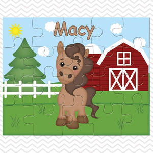 On the Farm Horse Kids Personalized Puzzle