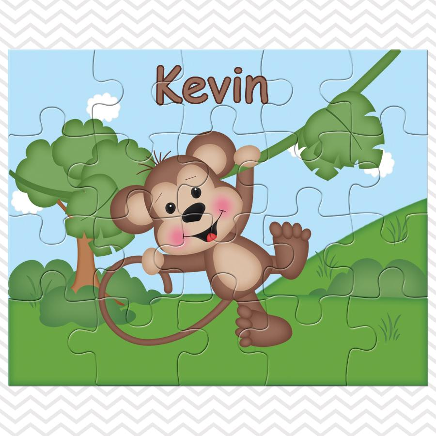 At the Zoo Monkey Kids Personalized Puzzle