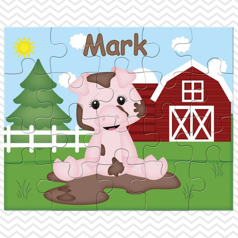 On the Farm Pig Kids Personalized Puzzle