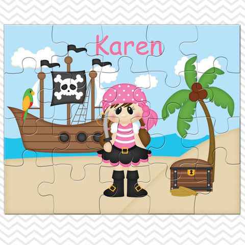 Pirate Girl Kids Personalized Puzzle