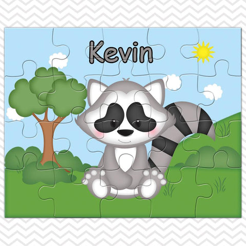 Cute Woodland Raccoon Kids Personalized Puzzle