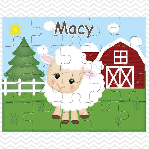 On the Farm Sheep Kids Personalized Puzzle