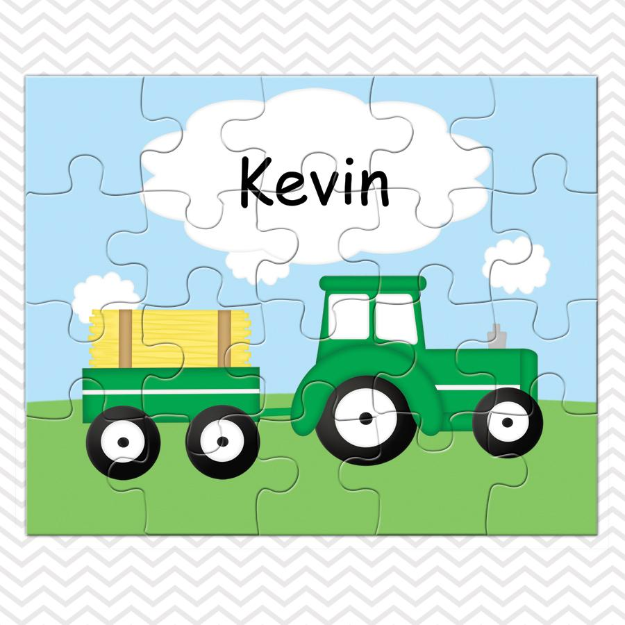 Tractor Green Kids Personalized Puzzle