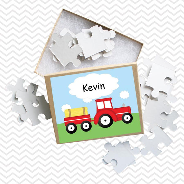 Tractor Red Kids Personalized Puzzle