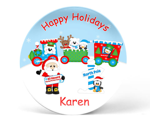 Christmas Santa Train Kids Plate
