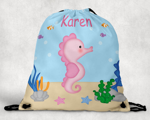 Seahorse Personalized Drawstring Bag