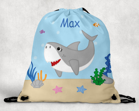 Shark Attach Personalized Drawstring Bag