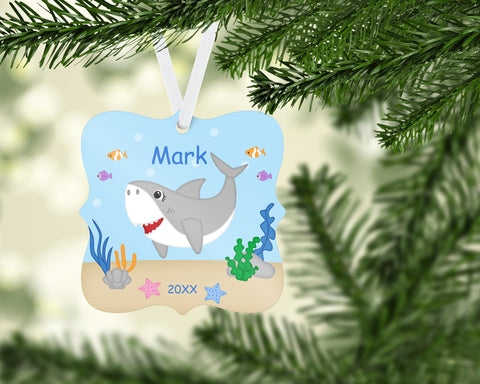 Shark Attach Christmas Prague Ornament