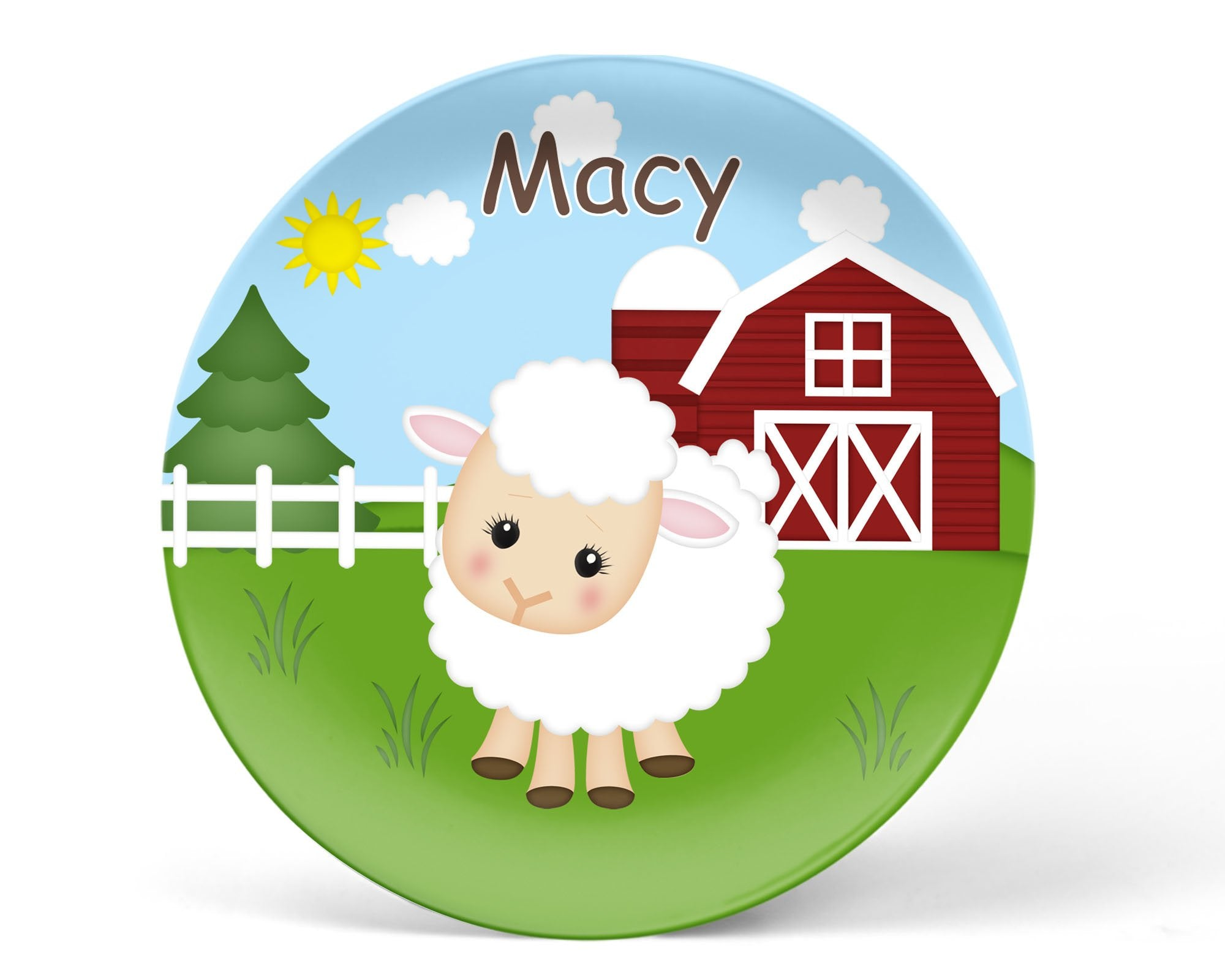 On the Farm Sheep Kids Plate