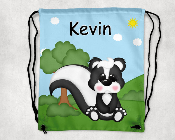 Cute Woodland Skunk Personalized Drawstring Bag
