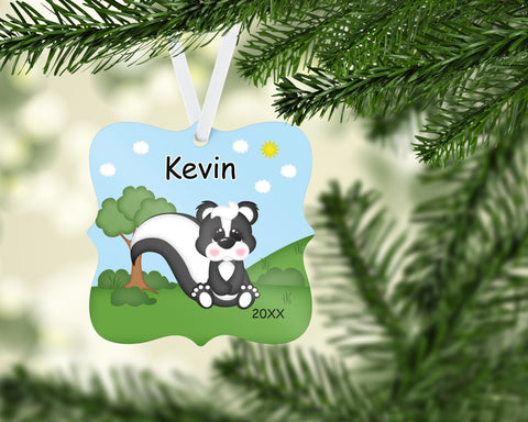 Cute Woodland Skunk Christmas Prague Ornament