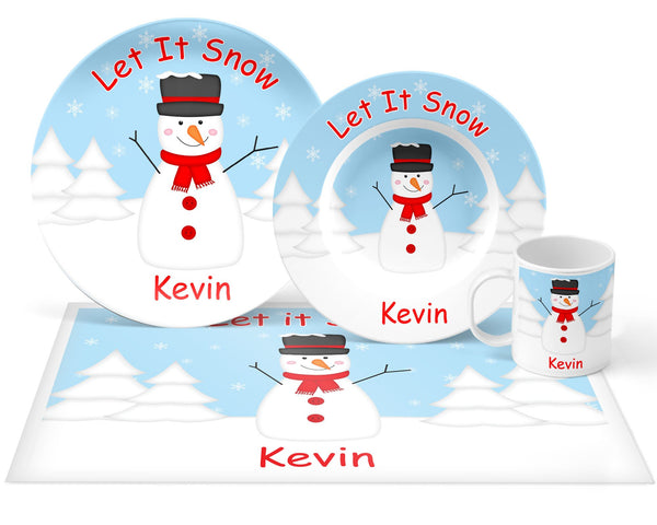 Christmas Snowman Red Kids Plate