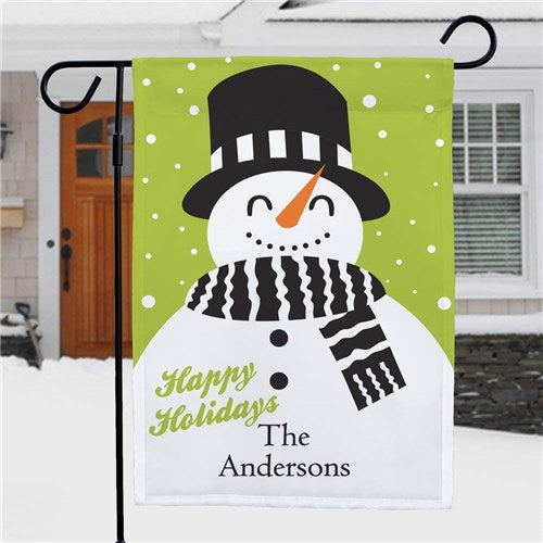 Snowman Holiday Personalized Garden Flag