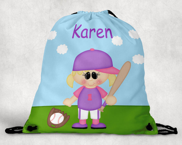 Softball Girl Personalized Drawstring Bag