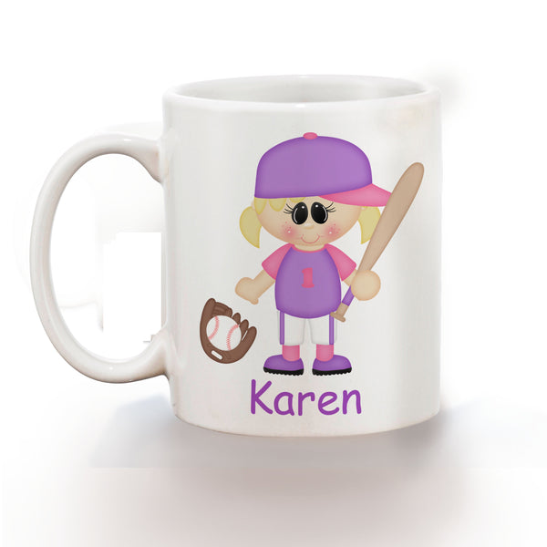 Softball Girl Kids Mug