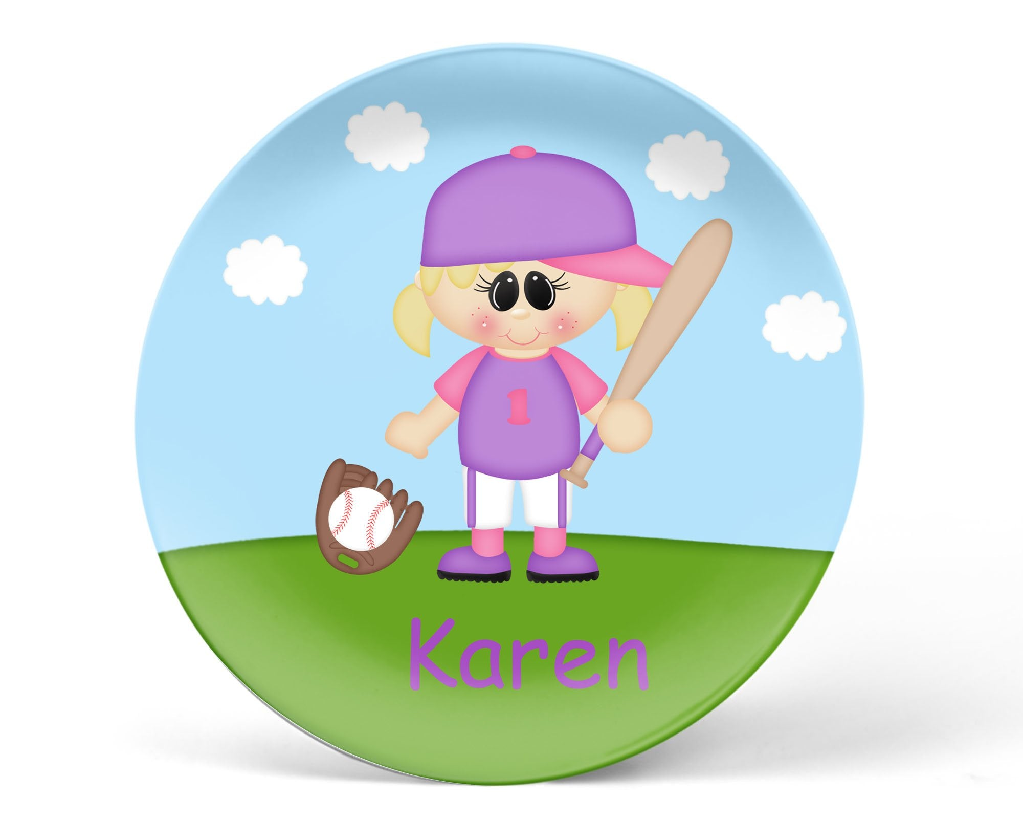 Softball Girl Kids Plate