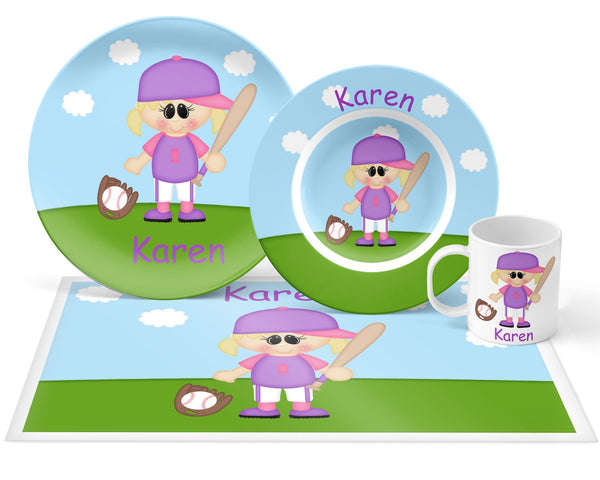 Softball Girl Kids Placemat
