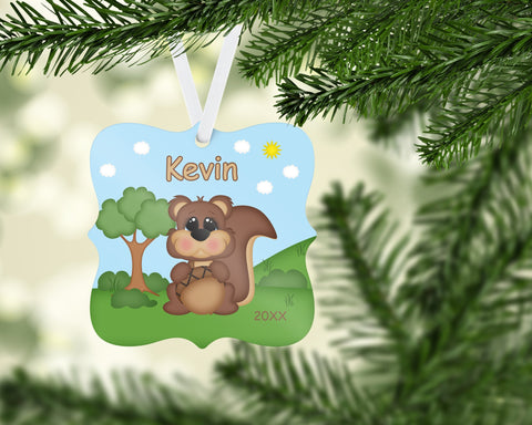 Cute Woodland Squirrel Christmas Prague Ornament