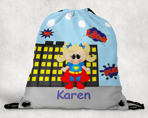 Supergirl Superhero Personalized Drawstring Bag